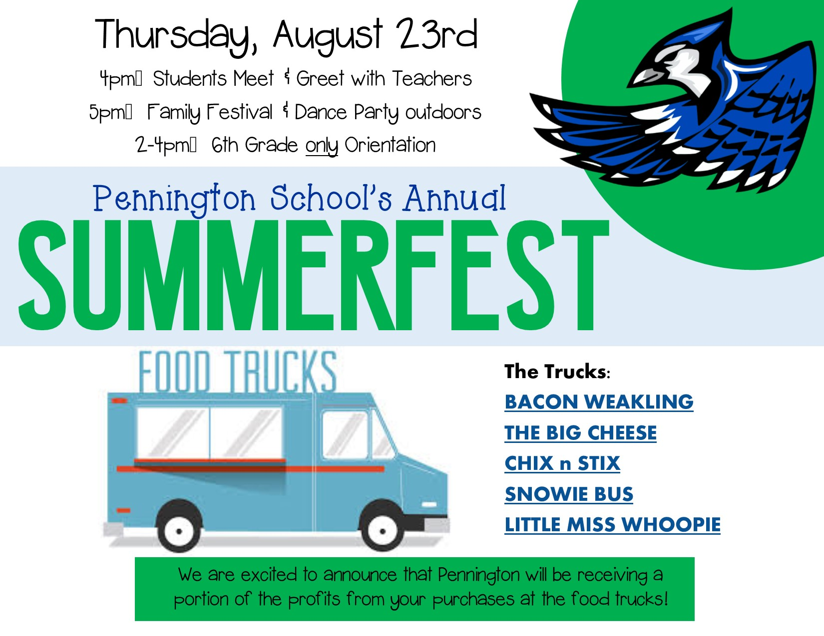 SummerFest 2018 on Thursday, August 23, with sixth grade orientation at 2:00 - 4:00, student-teacher meet and greet 4:00 - 5:00, and summerfest at 5:00.  Food is available for purchase from food trucks and a portion of the proceeds is being donated back to the school.